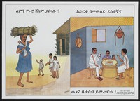 view A pregnant woman carrying a child and bundle on her head approaches a hut in which another family sit having dinner: family life in Ethiopia. Colour lithograph, 1989.