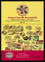 view Numerous badges bearing different types of cancer and the mesasge 'sucks': World Cancer Day in Kenya. Colour lithograph by Kenya Cancer Association, ca. 2000.