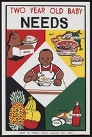 view A child eating a plate of food surrounded by images of a balanced diet: infant nutrition in Nigeria. Colour lithograph by Federal Health Education Unit of Lagos, ca. 2000.