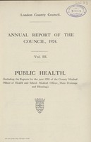 view [Report of the Medical Officer of Health for London County Council 1924]