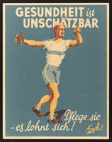 view An athlete about to throw a discus; representing care of one's health. Colour lithograph by R..l (?), 1929.
