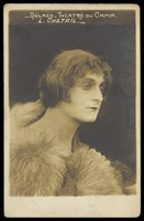 view A French prisoner of war in drag acting in an internment camp in Dülmen. Photographic postcard, ca. 1917.
