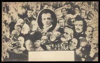 view Leopoldo Fregoli poses in the centre inset portrait within a collage of other portraits of men. Process print, 1903.