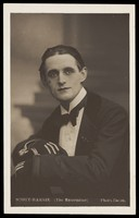 """view K. Scott-Barrie in character as """"The entertainer"""". Photographic postcard, 191-."""