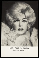 view Chris Shaw in drag. Photograph, 196-.