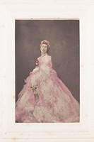 view Francis Cowley Burnand, in drag, poses wearing a large pink dress with flowers in his hair. Photograph, ca. 1855.