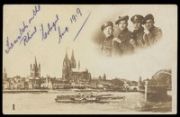 view British soldiers inset above a view of the Rhine at Cologne. Photographic print, 1919.