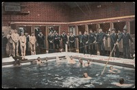 view Naked sailors having swimming lessons in Portsmouth, supported by ropes held by clothed sailors standing around the pool. Colour process print after J.S. Cribb, 190-.