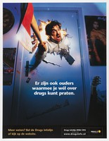 view A father with an axe breaking through the door of a teenager's bedroom; representing a parent to whom it is difficult to talk about drugs, but who is not typical of all parents. Colour lithograph for the Drugs Infolijn, 200-.