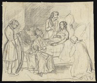 view A young woman on her deathbed surrounded by four people: one of them holds a mirror in front of her. Drawing by H. Lalaisse, 18--.