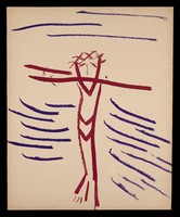 view Christ crucified (?). Watercolour by M. Bishop, 1967.