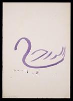view A swan. Watercolour by M. Bishop, 1975.