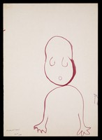 view A child drawn in outline. Watercolour by M. Bishop, 1975.