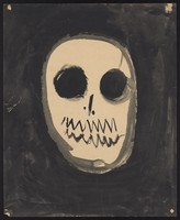 view A skull. Watercolour by M. Bishop, 1964.
