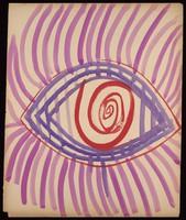 view An eye. Watercolour by M. Bishop, 1965.