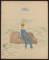 view A sailor adrift on a raft in the ocean; a flag flies from a flagpole. Watercolour by M. Bishop, 1958.