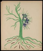 view A tree. Watercolour by M. Bishop, 1969.