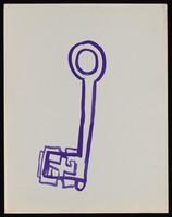 view A key. Watercolour by M. Bishop, 1970.