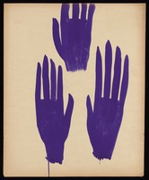 view Three purple hands. Watercolour by M. Bishop, 1963.
