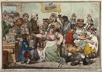 view Edward Jenner vaccinating patients in the Smallpox and Inoculation Hospital at St. Pancras: the patients develop features of cows. Coloured etching by J. Gillray, 1802.