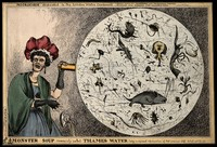 view A woman dropping her porcelain tea-cup in horror upon discovering the monstrous contents of a magnified drop of Thames water; revealing the impurity of London drinking water. Coloured etching by W. Heath, 1828.