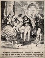 view Mr. Lambkin (right) being introduced to a ballet dancer. Lithograph after G. Cruikshank.