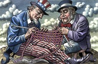 view Anglo-American research on the human genome, represented by Uncle Sam and John Bull knitting DNA. Scraperboard drawing by Bill Sanderson, 1990.