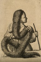 view A person with very long, strange hair. Engraving.