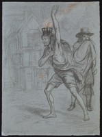 view Solomon Eagle striding through plague ridden London with burning coals on his head, trying to fumigate the air. Chalk drawing by E.M. Ward, 1848.