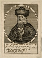 view Anna Macallame, a bearded woman. Line engraving.