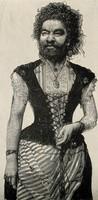 view Senora Pastrana, a bearded woman. Reproduction of a wood engraving.
