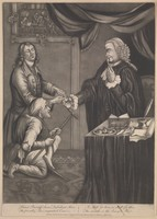 view A lame man and a blind man go to court; the lawyer eats oysters and gives them the empty shells. Mezzotint, 1779.
