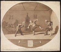 view Three men wearing orthopedic apparatus exercising; another is strapped into leg braces. Aquatint by P. Sandby (?), 1783.
