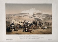 view Crimean War: Sisters of Charity nursing wounded soldiers from the Battle of Inkerman. Coloured lithograph by Le Par (?), 1855.