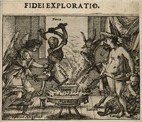 view The soul being refined like metal in a crucible by an angel, Satan, Venus and Death; representing a test of faith. Etching by C. Murer, ca. 1600-1614.