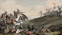 view The dance of death: the battle. Coloured aquatint by T. Rowlandson, 1816.
