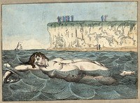 view Margate, Kent: a woman swimming in the sea; in the background people are looking out to sea from cliffs and a beach. Coloured etching, ca. 1800.