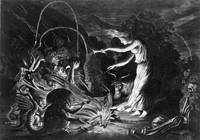 view A witch at her cauldron surrounded by monsters. Etching by Jan van de Velde II, 1626.