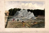 view King's Cross, London: the Great Dust-Heap, next to Battle Bridge and the Smallpox Hospital. Watercolour painting by E. H. Dixon, 1837.