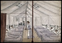view St Pancras Smallpox Hospital, London: housed in a tented camp at Finchley. Watercolour by F. Collins, 1881.