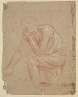 view A man holding his nose to avoid breathing in a miasma. Drawing.