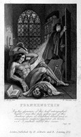 view Victor Frankenstein observing the first stirrings of his creature. Engraving by W. Chevalier after Th. von Holst, 1831.