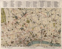 view A map of London: showing sites of medical and other interest in the City of London, and Westminster. Coloured lithograph, 1913.