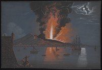 view Mount Vesuvius erupting violently at night over the bay of Naples, with two spectators and a guard on watch from the castle in the foreground. Gouache painting.