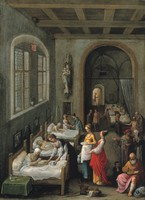 view Saint Elizabeth of Hungary bringing food for the inmates of a hospital. Oil painting by Adam Elsheimer, ca. 1598.