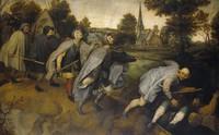 view The blind leading the blind. Oil painting after Pieter Bruegel.