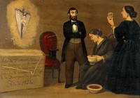 view Dona Mercedes Velasco's recovery from nosebleed after prayer to the Lord of the Abandoned. Oil painting, 1854.