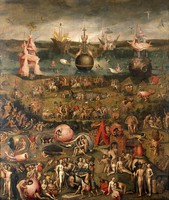 view The 'Garden of earthly delights'. Oil painting after Hieronymus Bosch.