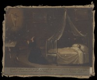 view Antonio Abril, a child aged six years, being cured instantly after his mother had prayed to the Virgin, 1863. Oil painting, 1864.