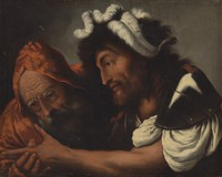 view A fortune-teller reading the palm of a soldier. Oil painting by Pietro Della Vecchia.